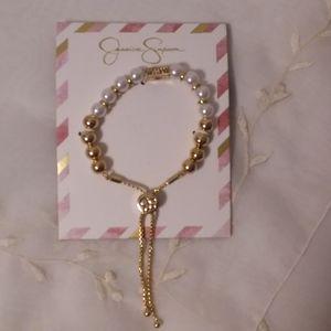 Flaux Pearl Gold Tone Bracelet Jessica Simpson